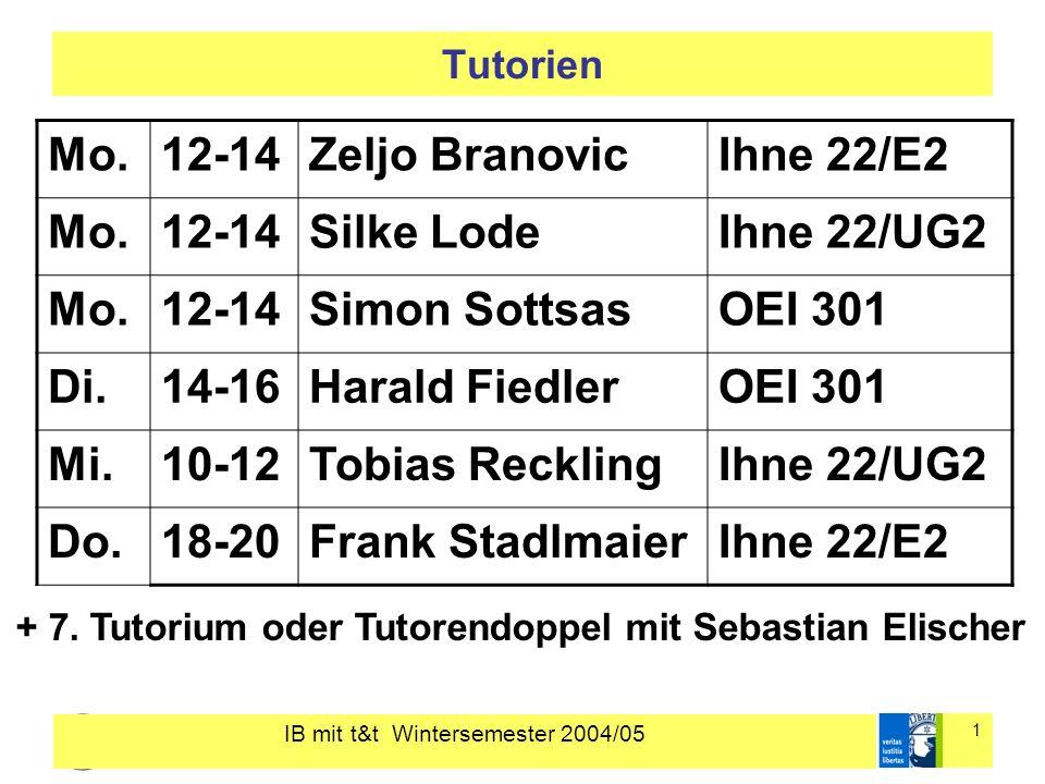 IB mit t&t Wintersemester 2004/05 1 Tutorien Mo.12-14Zeljo BranovicIhne 22/E2 Mo.12-14Silke LodeIhne 22/UG2 Mo.12-14Simon SottsasOEI 301 Di.14-16Harald FiedlerOEI 301 Mi.10-12Tobias RecklingIhne 22/UG2 Do.18-20Frank StadlmaierIhne 22/E2 + 7.