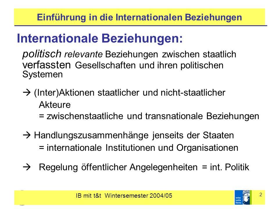 IB mit t&t Wintersemester 2004/05 2 Einführung in die Internationalen Beziehungen Internationale Beziehungen: politisch relevante Beziehungen zwischen