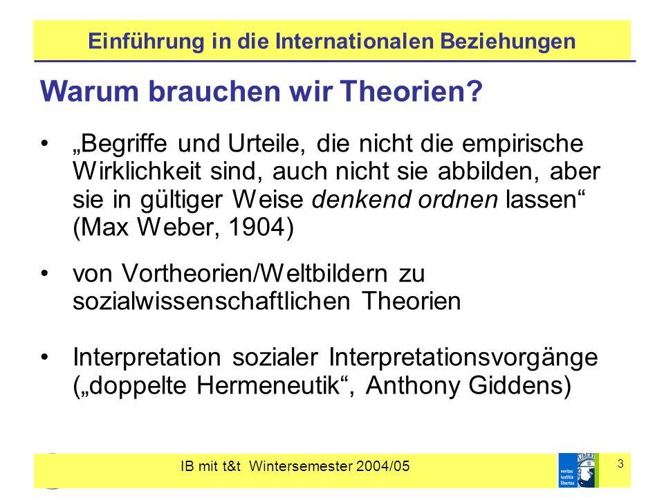 IB mit t&t Wintersemester 2004/05 3 Einführung in die Internationalen Beziehungen Warum brauchen wir Theorien? Begriffe und Urteile, die nicht die emp