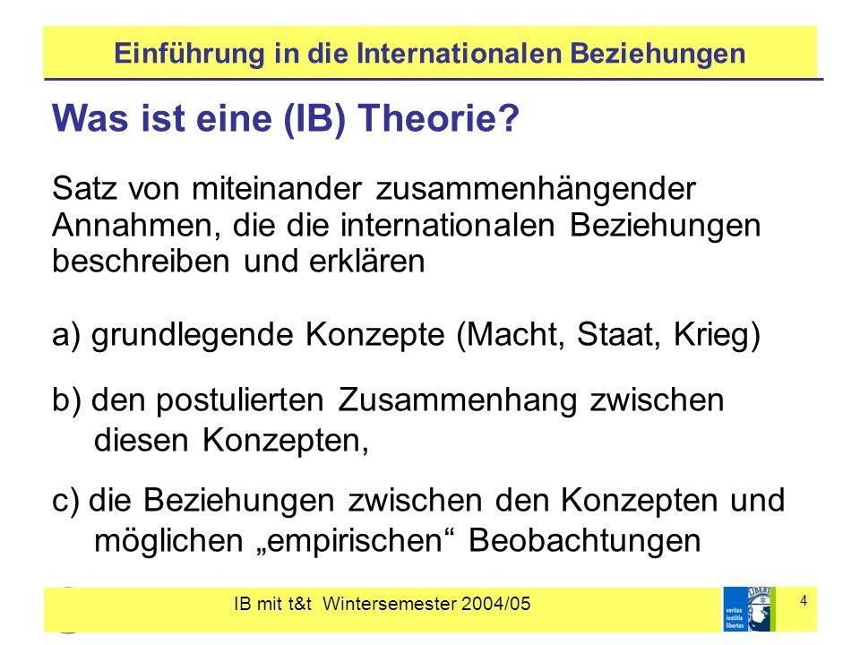 IB mit t&t Wintersemester 2004/05 4 Einführung in die Internationalen Beziehungen Was ist eine (IB) Theorie? Satz von miteinander zusammenhängender An