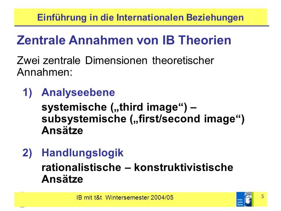 IB mit t&t Wintersemester 2004/05 5 Einführung in die Internationalen Beziehungen Zentrale Annahmen von IB Theorien Zwei zentrale Dimensionen theoretischer Annahmen: 1)Analyseebene systemische (third image) – subsystemische (first/second image) Ansätze 2)Handlungslogik rationalistische – konstruktivistische Ansätze