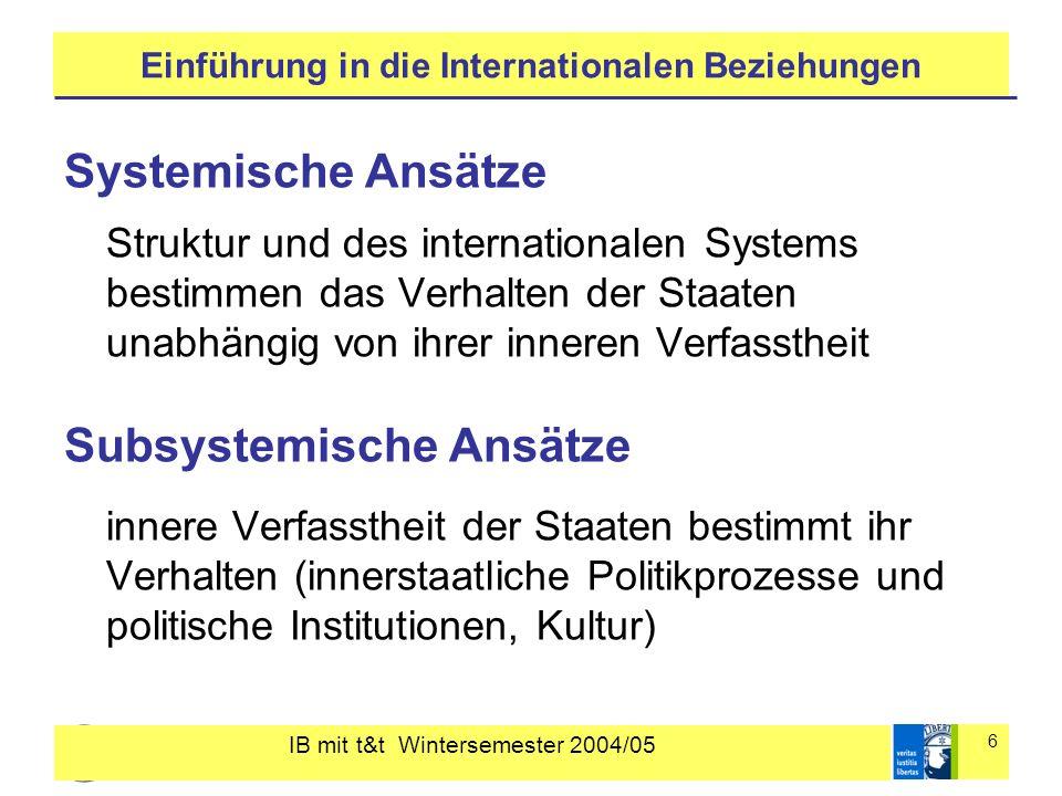 IB mit t&t Wintersemester 2004/05 6 Einführung in die Internationalen Beziehungen Systemische Ansätze Struktur und des internationalen Systems bestimm