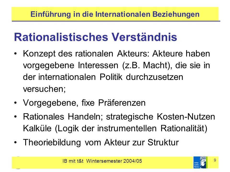 IB mit t&t Wintersemester 2004/05 9 Einführung in die Internationalen Beziehungen Rationalistisches Verständnis Konzept des rationalen Akteurs: Akteure haben vorgegebene Interessen (z.B.