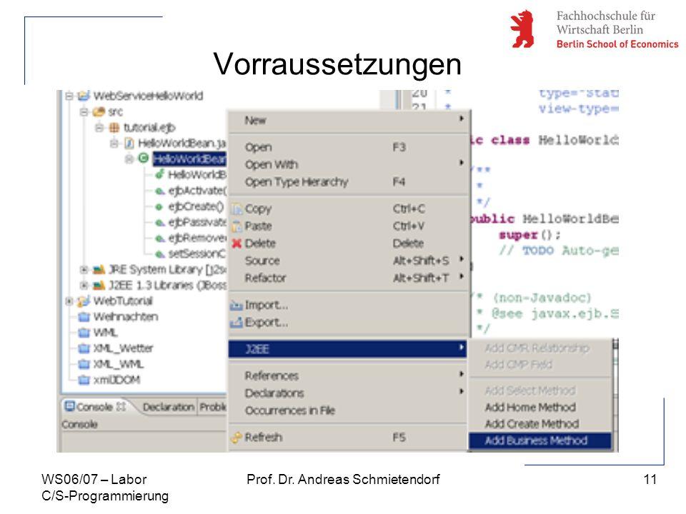 11 Prof. Dr. Andreas SchmietendorfWS06/07 – Labor C/S-Programmierung Vorraussetzungen