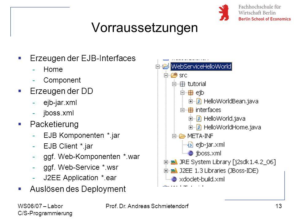 13 Prof. Dr. Andreas SchmietendorfWS06/07 – Labor C/S-Programmierung Vorraussetzungen Erzeugen der EJB-Interfaces -Home -Component Erzeugen der DD -ej