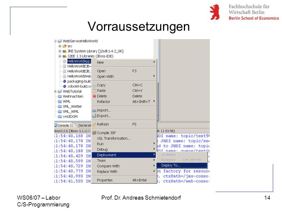 14 Prof. Dr. Andreas SchmietendorfWS06/07 – Labor C/S-Programmierung Vorraussetzungen