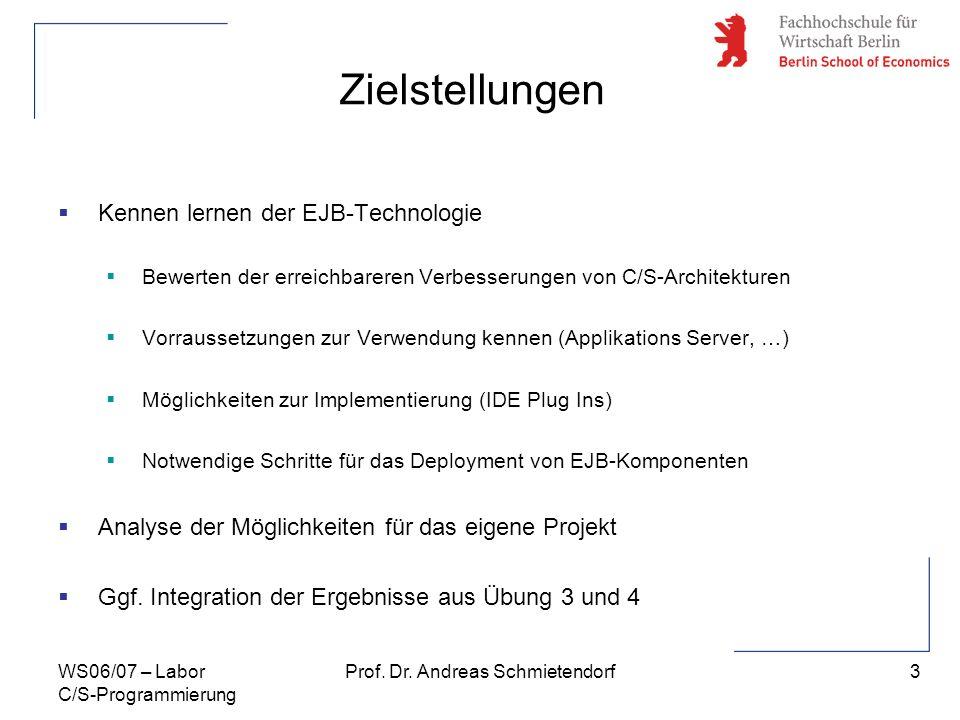 3 Prof. Dr. Andreas SchmietendorfWS06/07 – Labor C/S-Programmierung Zielstellungen Kennen lernen der EJB-Technologie Bewerten der erreichbareren Verbe