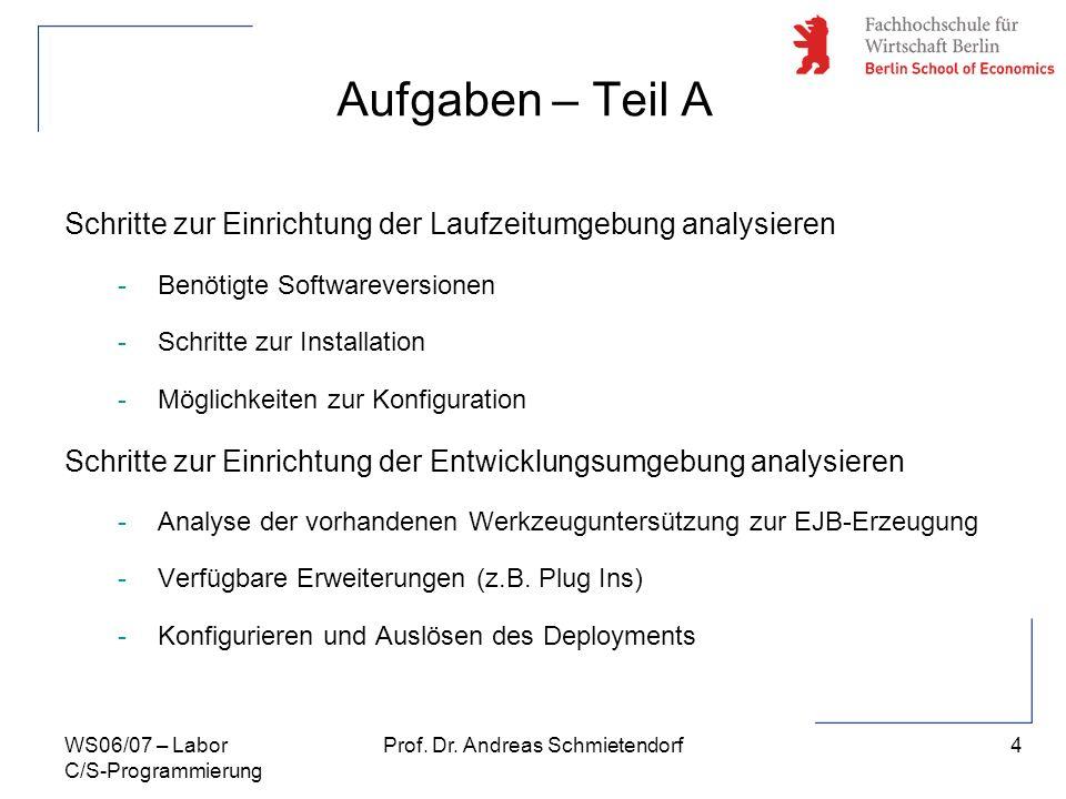 4 Prof. Dr. Andreas SchmietendorfWS06/07 – Labor C/S-Programmierung Aufgaben – Teil A Schritte zur Einrichtung der Laufzeitumgebung analysieren -Benöt