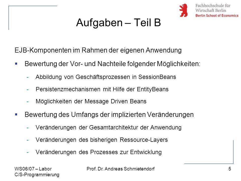 5 Prof. Dr. Andreas SchmietendorfWS06/07 – Labor C/S-Programmierung Aufgaben – Teil B EJB-Komponenten im Rahmen der eigenen Anwendung Bewertung der Vo
