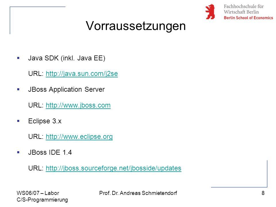8 Prof. Dr. Andreas SchmietendorfWS06/07 – Labor C/S-Programmierung Vorraussetzungen Java SDK (inkl. Java EE) URL: http://java.sun.com/j2sehttp://java
