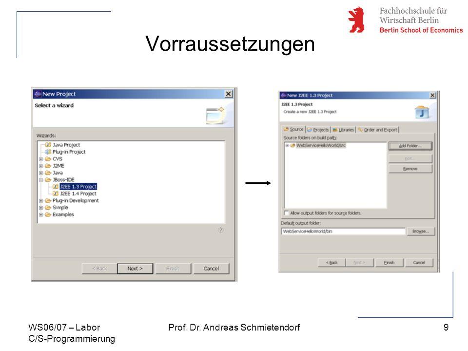 9 Prof. Dr. Andreas SchmietendorfWS06/07 – Labor C/S-Programmierung Vorraussetzungen
