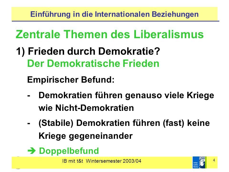 IB mit t&t Wintersemester 2003/04 4 Einführung in die Internationalen Beziehungen Zentrale Themen des Liberalismus 1) Frieden durch Demokratie.