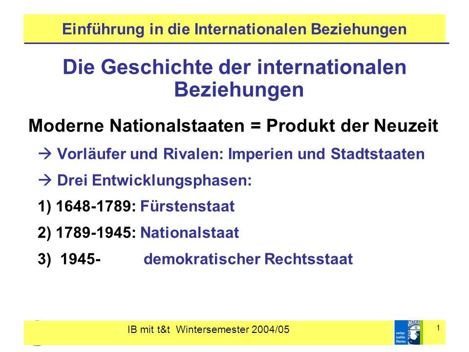 IB mit t&t Wintersemester 2004/05 1 Einführung in die Internationalen Beziehungen Die Geschichte der internationalen Beziehungen Moderne Nationalstaat