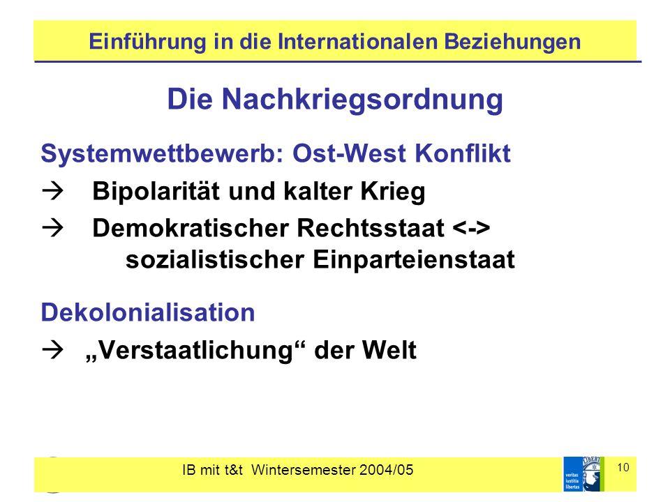 IB mit t&t Wintersemester 2004/05 10 Einführung in die Internationalen Beziehungen Die Nachkriegsordnung Systemwettbewerb: Ost-West Konflikt Bipolarit