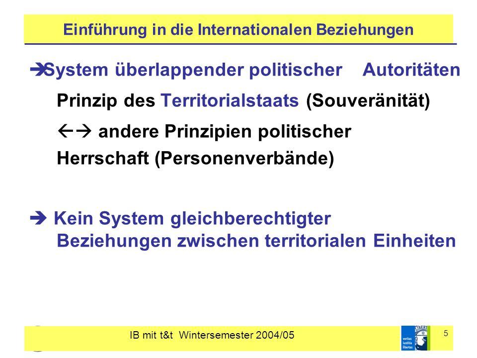 IB mit t&t Wintersemester 2004/05 5 Einführung in die Internationalen Beziehungen System überlappender politischer Autoritäten Prinzip des Territorial
