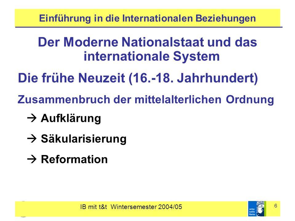 IB mit t&t Wintersemester 2004/05 6 Einführung in die Internationalen Beziehungen Der Moderne Nationalstaat und das internationale System Die frühe Ne