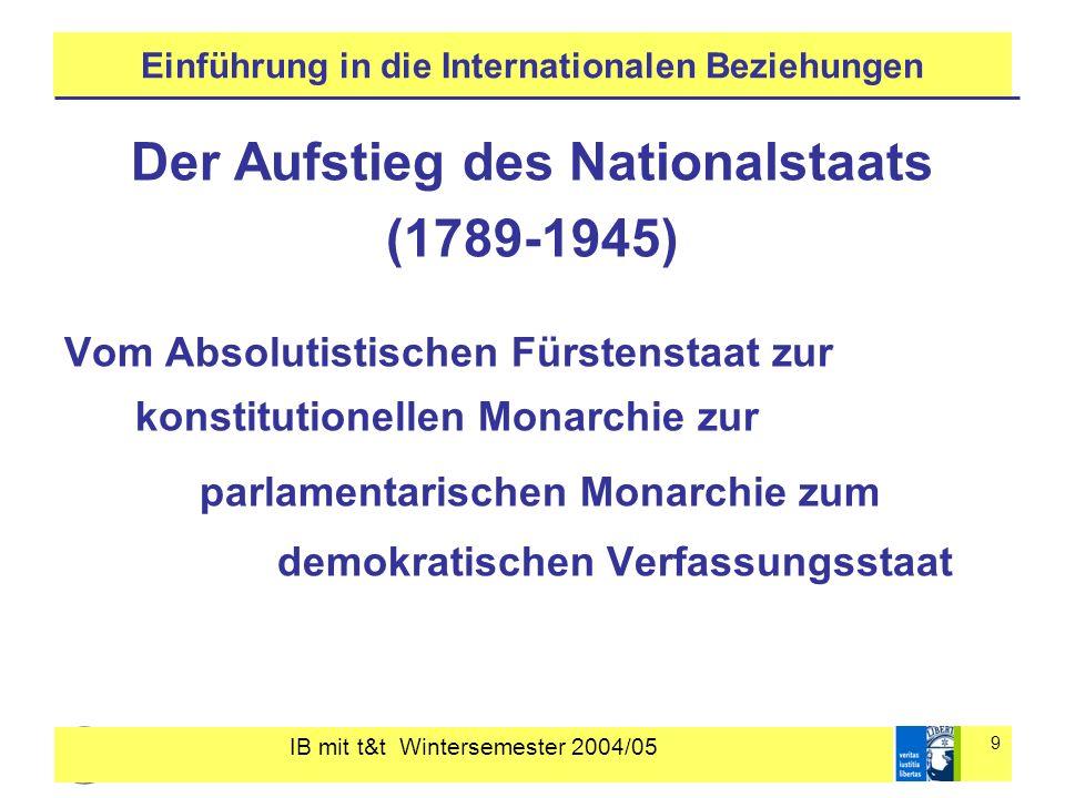 IB mit t&t Wintersemester 2004/05 9 Einführung in die Internationalen Beziehungen Der Aufstieg des Nationalstaats (1789-1945) Vom Absolutistischen Für