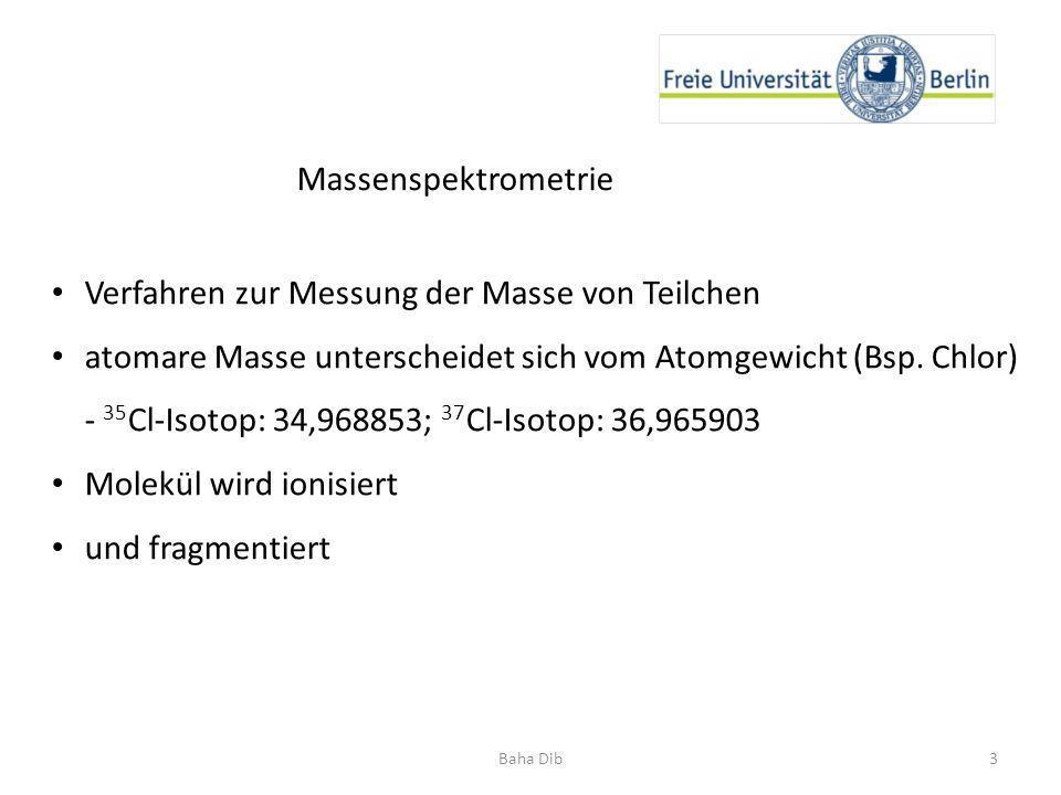 Massenspektrometrie Verfahren zur Messung der Masse von Teilchen atomare Masse unterscheidet sich vom Atomgewicht (Bsp. Chlor) - 35 Cl-Isotop: 34,9688