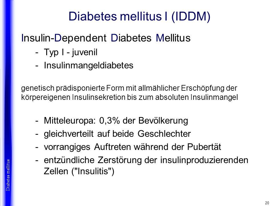 20 Diabetes mellitus I (IDDM) Insulin-Dependent Diabetes Mellitus -Typ I - juvenil -Insulinmangeldiabetes genetisch prädisponierte Form mit allmählich