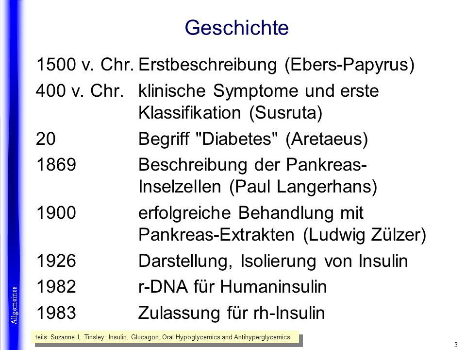 4 Insulinproduktion Pankreas -Langerhanssche Inseln ß-Zellen zytoplasmatische Speichervesikel Exocytose in Blutkapillaren biologische Halbwertszeit: 6-10 min Speicherung von 150-250 IE im Pankreas tägliche Abgabe von 20-40 IE Allgemeines