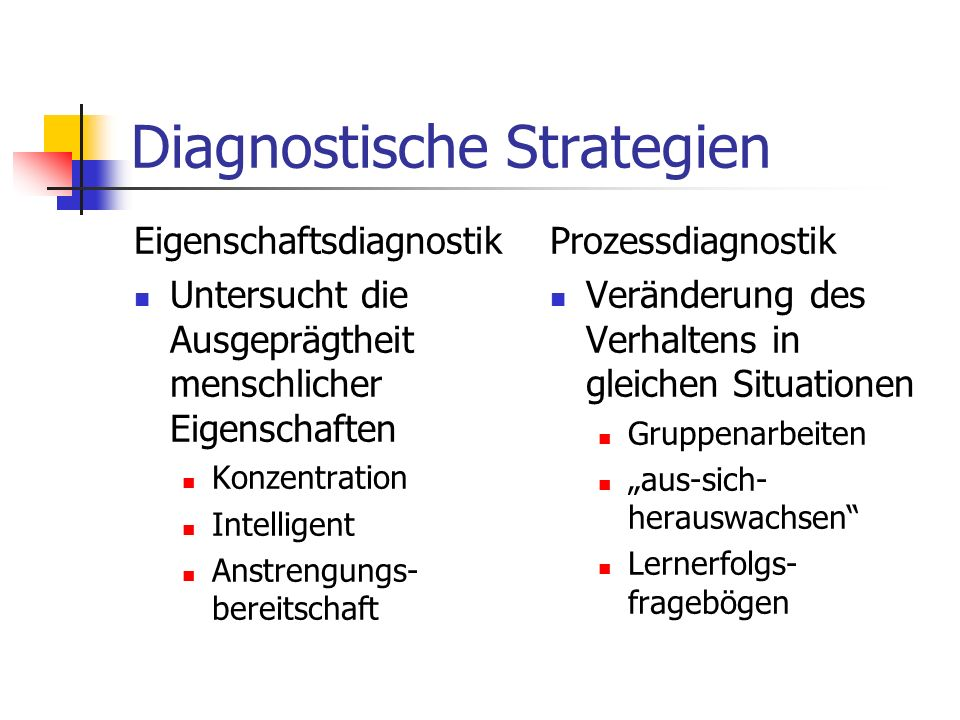 Diagnostische Strategien Eigenschaftsdiagnostik Untersucht die Ausgeprägtheit menschlicher Eigenschaften Konzentration Intelligent Anstrengungs- berei