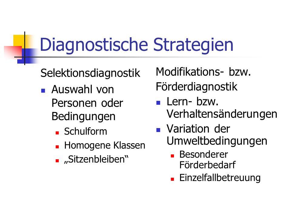 Diagnostische Strategien Selektionsdiagnostik Auswahl von Personen oder Bedingungen Schulform Homogene Klassen Sitzenbleiben Modifikations- bzw. Förde