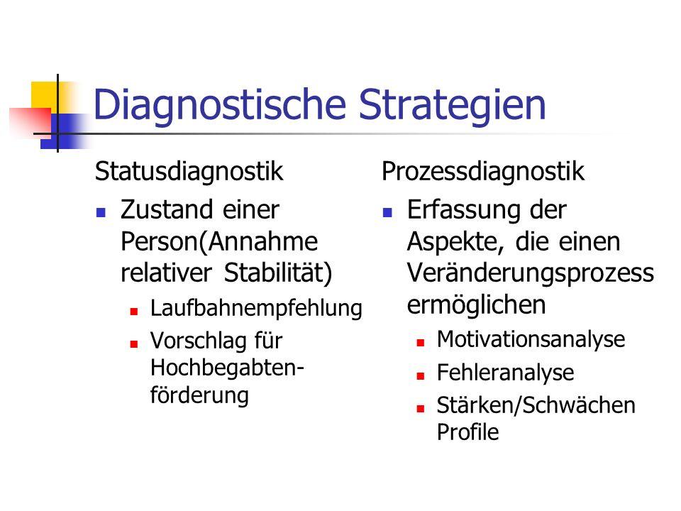 Diagnostische Strategien Statusdiagnostik Zustand einer Person(Annahme relativer Stabilität) Laufbahnempfehlung Vorschlag für Hochbegabten- förderung