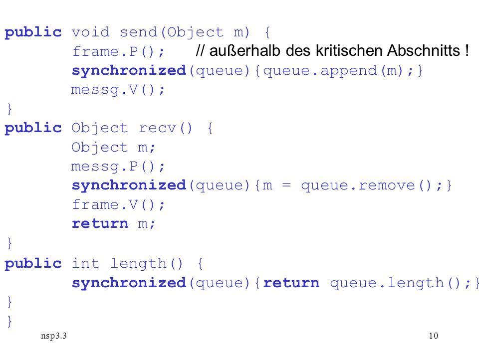 nsp3.310 public void send(Object m) { frame.P(); // außerhalb des kritischen Abschnitts .