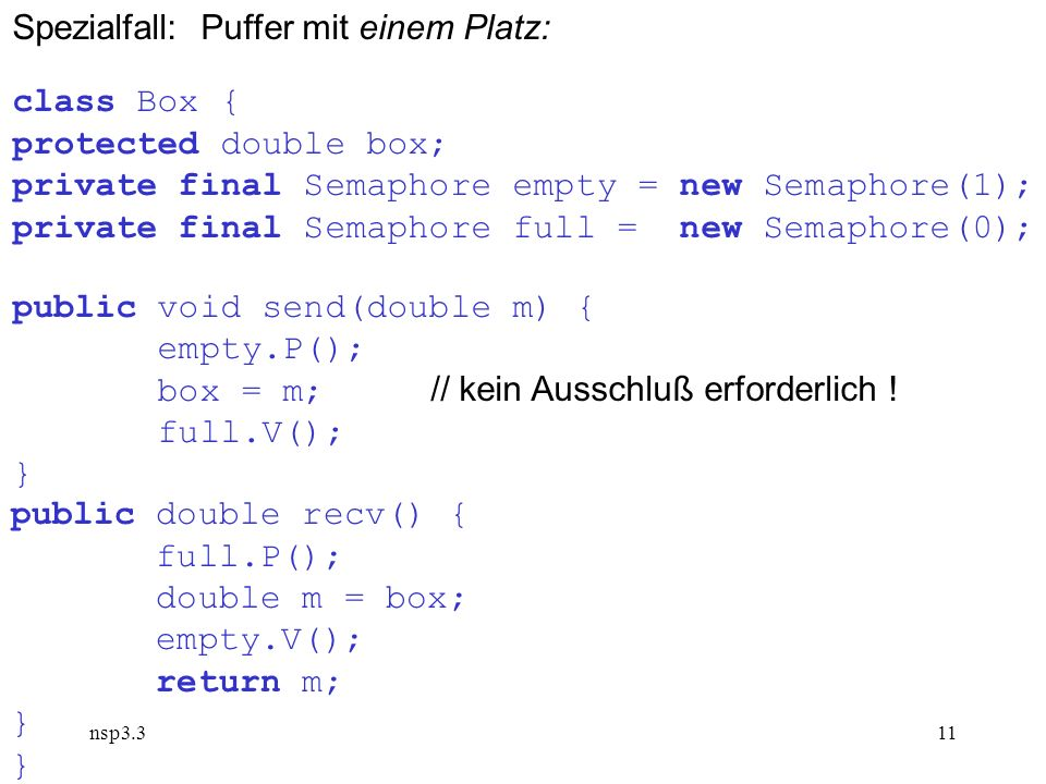 nsp3.311 Spezialfall: Puffer mit einem Platz: class Box { protected double box; private final Semaphore empty = new Semaphore(1); private final Semaphore full = new Semaphore(0); public void send(double m) { empty.P(); box = m; // kein Ausschluß erforderlich .
