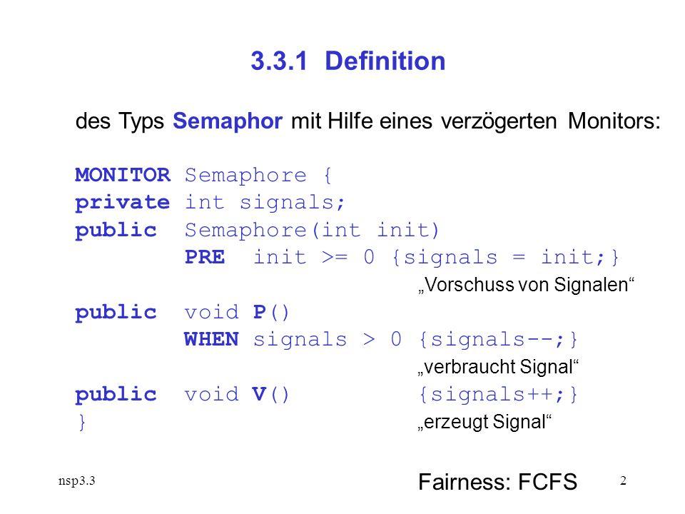 nsp3.32 3.3.1 Definition des Typs Semaphor mit Hilfe eines verzögerten Monitors: MONITOR Semaphore { private int signals; public Semaphore(int init) PRE init >= 0 {signals = init;} Vorschuss von Signalen public void P() WHEN signals > 0 {signals--;} verbraucht Signal public void V() {signals++;} } erzeugt Signal Fairness: FCFS