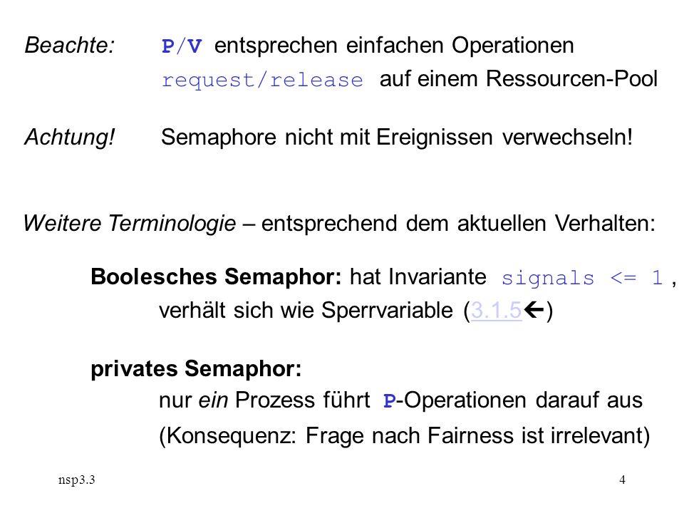 nsp3.34 Beachte: P/V entsprechen einfachen Operationen request/release auf einem Ressourcen-Pool Achtung!Semaphore nicht mit Ereignissen verwechseln.