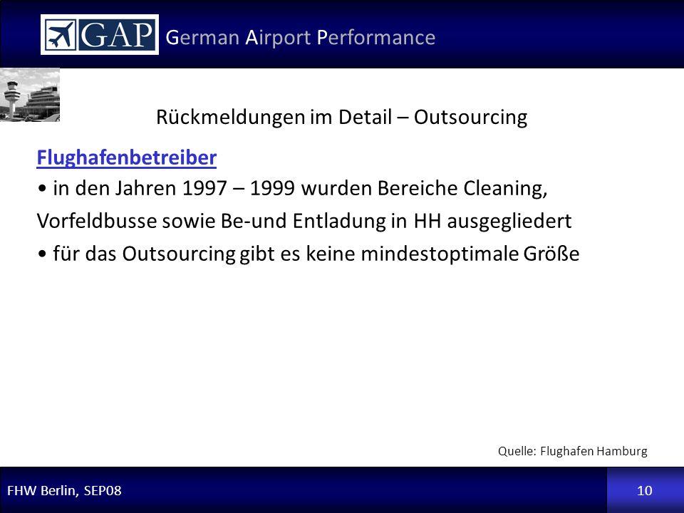 FHW Berlin, SEP08 German Airport Performance 10 Flughafenbetreiber in den Jahren 1997 – 1999 wurden Bereiche Cleaning, Vorfeldbusse sowie Be-und Entla
