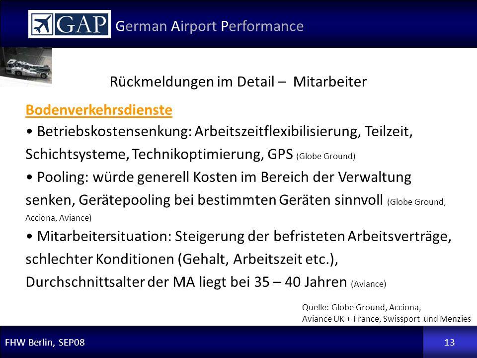 FHW Berlin, SEP08 German Airport Performance 13 Rückmeldungen im Detail – Mitarbeiter Quelle: Globe Ground, Acciona, Aviance UK + France, Swissport un