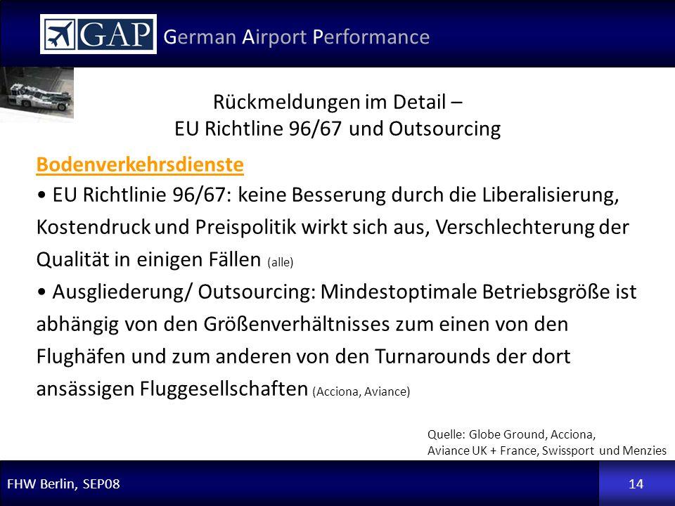 FHW Berlin, SEP08 German Airport Performance 14 Rückmeldungen im Detail – EU Richtline 96/67 und Outsourcing Quelle: Globe Ground, Acciona, Aviance UK