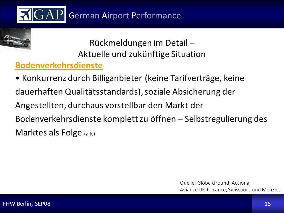 FHW Berlin, SEP08 German Airport Performance 15 Rückmeldungen im Detail – Aktuelle und zukünftige Situation Quelle: Globe Ground, Acciona, Aviance UK