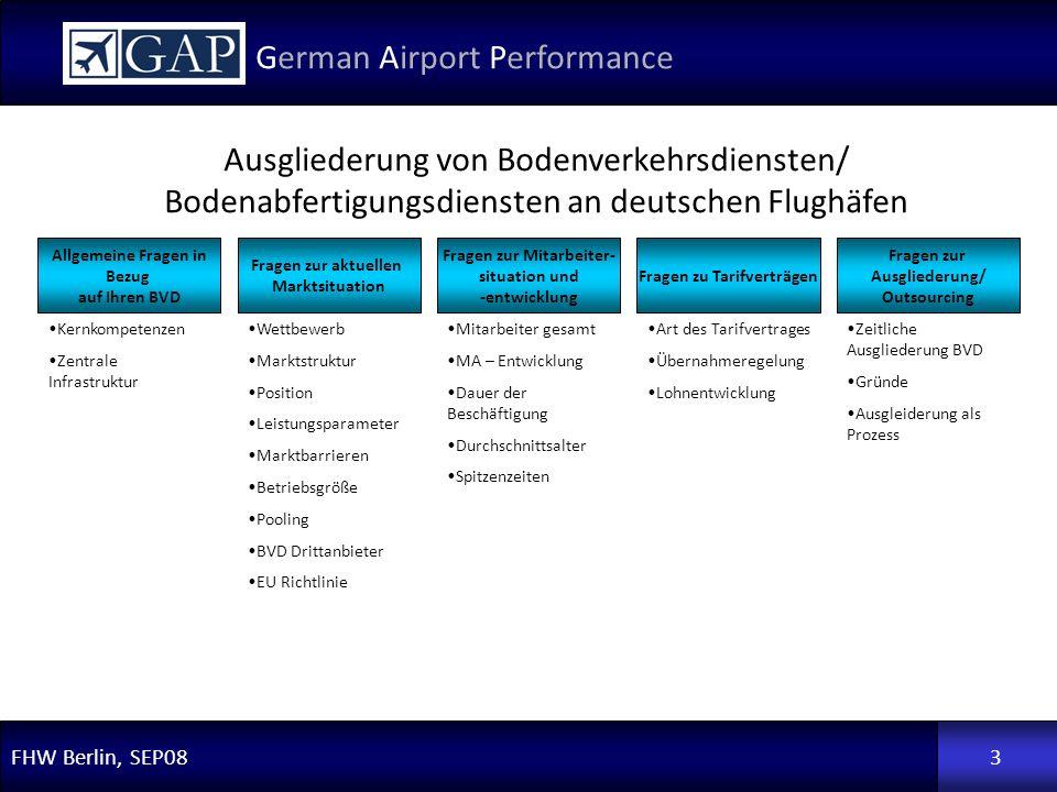 FHW Berlin, SEP08 German Airport Performance 3 Allgemeine Fragen in Bezug auf Ihren BVD Fragen zur aktuellen Marktsituation Fragen zur Mitarbeiter- si