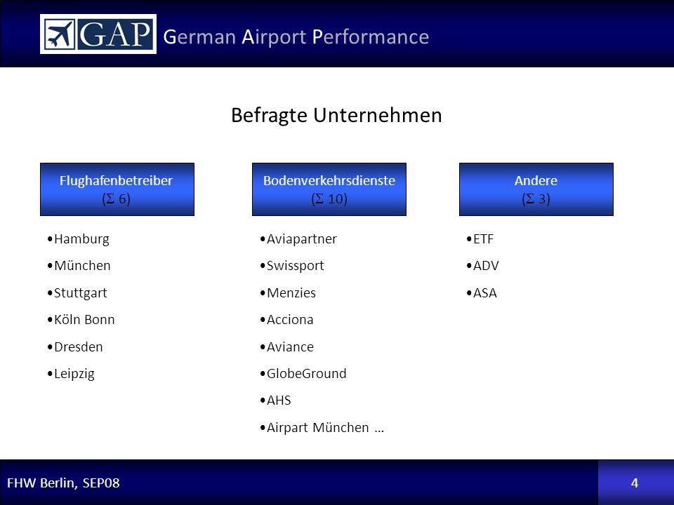 FHW Berlin, SEP08 German Airport Performance 4 Flughafenbetreiber ( 6) Bodenverkehrsdienste ( 10) Andere ( 3) Hamburg München Stuttgart Köln Bonn Dres