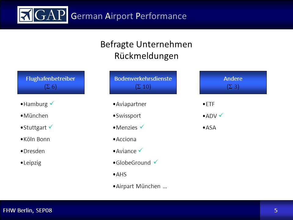 FHW Berlin, SEP08 German Airport Performance 5 Flughafenbetreiber ( 6) Bodenverkehrsdienste ( 10) Andere ( 3) Hamburg München Stuttgart Köln Bonn Dres