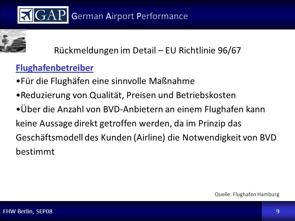 FHW Berlin, SEP08 German Airport Performance 9 Flughafenbetreiber Für die Flughäfen eine sinnvolle Maßnahme Reduzierung von Qualität, Preisen und Betr