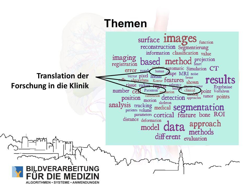 Themen Schwerpunktsthema: Translation Medizinische Bildverarbeitung in Deutschland - Stand und Perspektiven (Di.