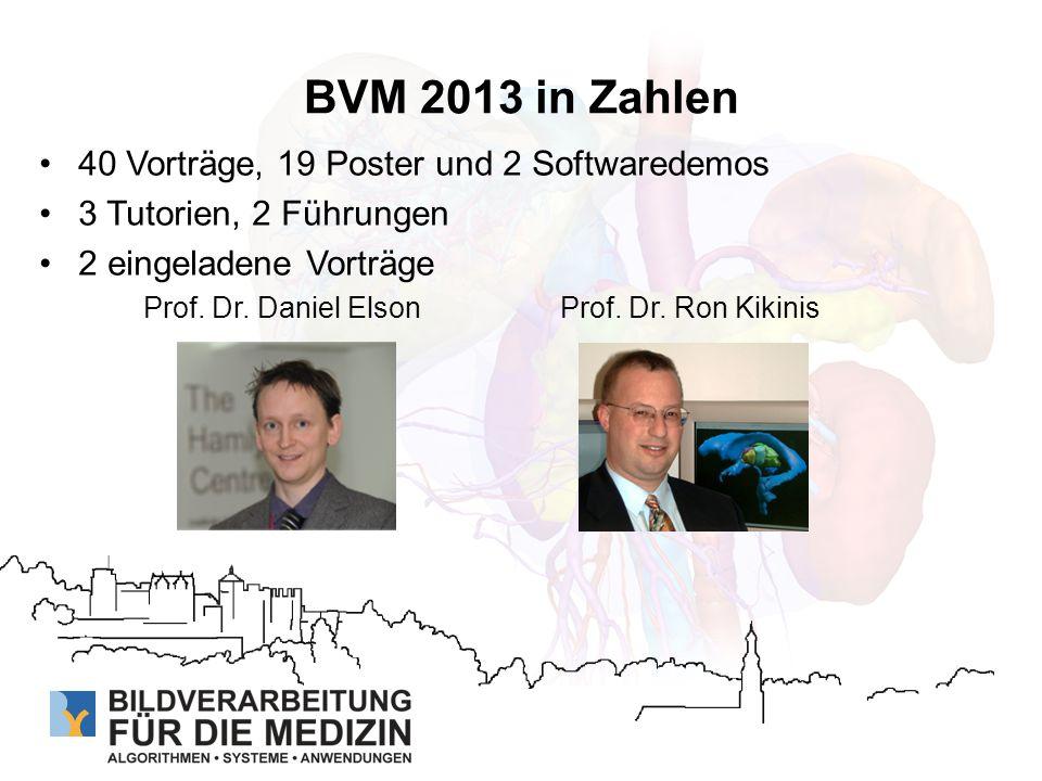 BVM 2013 in Zahlen 40 Vorträge, 19 Poster und 2 Softwaredemos 3 Tutorien, 2 Führungen 2 eingeladene Vorträge Prof. Dr. Daniel ElsonProf. Dr. Ron Kikin