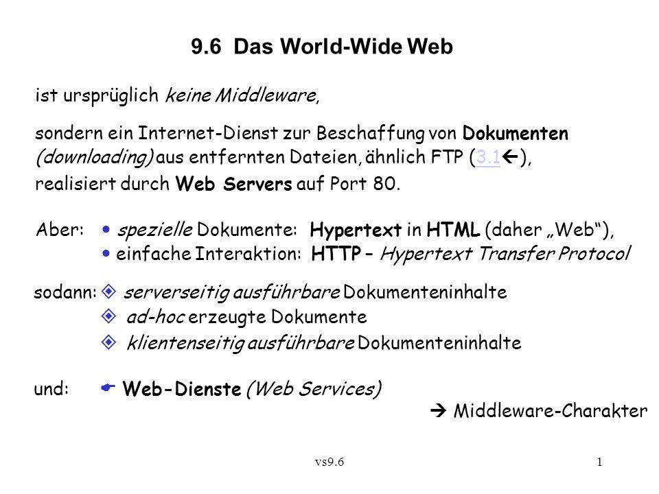 vs9.61 9.6 Das World-Wide Web ist ursprüglich keine Middleware, sondern ein Internet-Dienst zur Beschaffung von Dokumenten (downloading) aus entfernten Dateien, ähnlich FTP (3.1 ),3.1 realisiert durch Web Servers auf Port 80.
