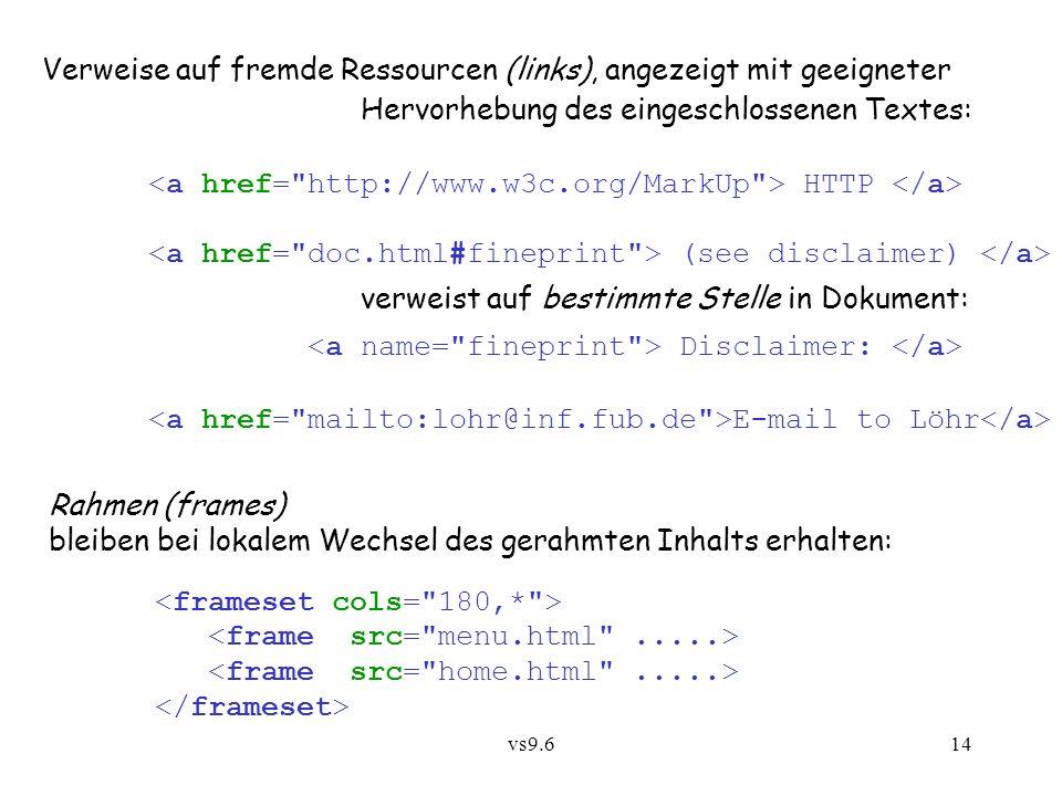vs9.614 Verweise auf fremde Ressourcen (links), angezeigt mit geeigneter Hervorhebung des eingeschlossenen Textes: HTTP (see disclaimer) verweist auf bestimmte Stelle in Dokument: Disclaimer: E-mail to Löhr Rahmen (frames) bleiben bei lokalem Wechsel des gerahmten Inhalts erhalten: