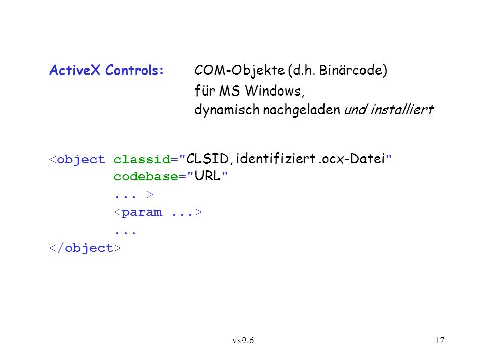 vs9.617 ActiveX Controls: COM-Objekte (d.h.