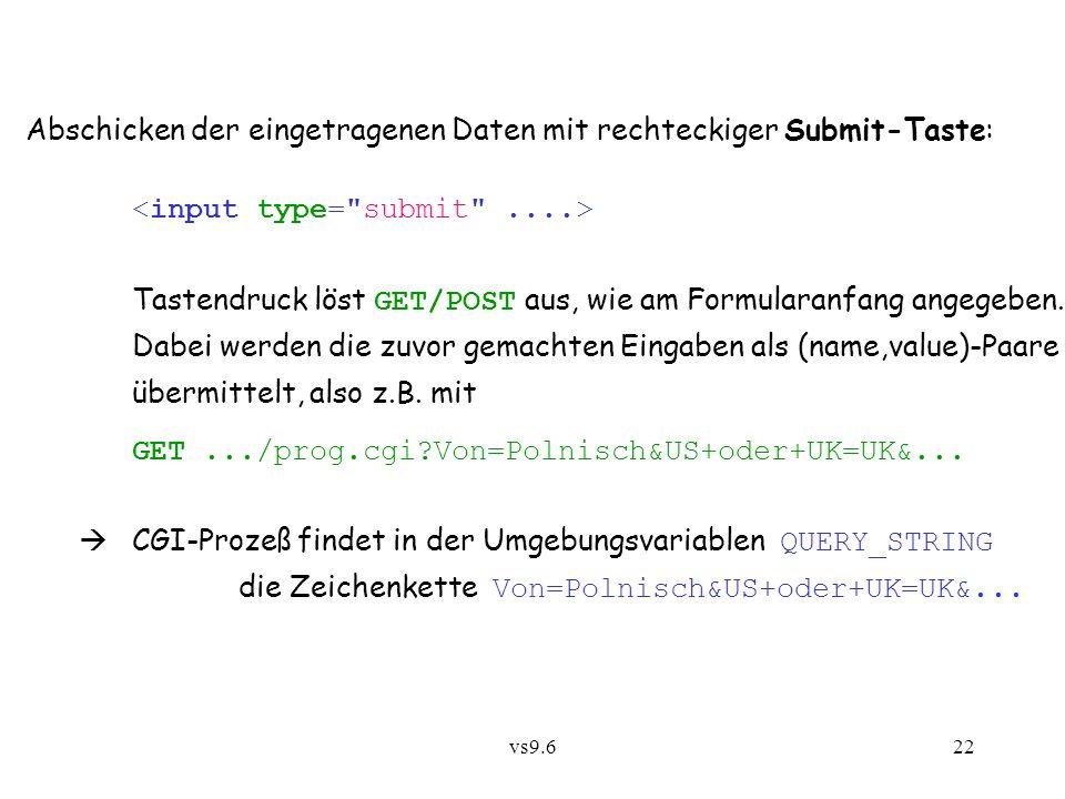 vs9.622 Abschicken der eingetragenen Daten mit rechteckiger Submit-Taste: Tastendruck löst GET/POST aus, wie am Formularanfang angegeben.
