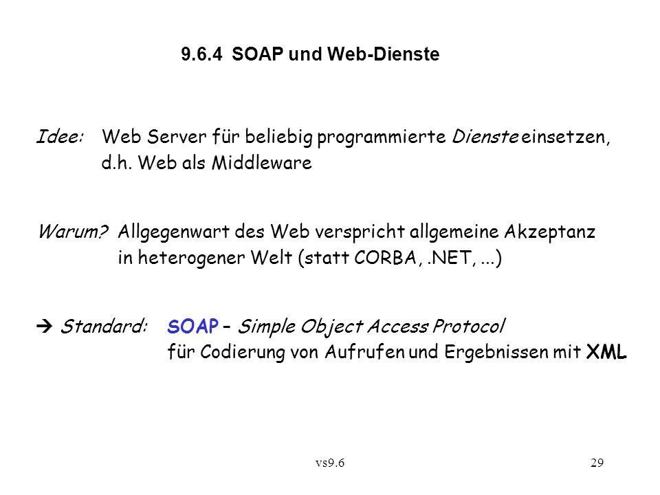 vs9.629 9.6.4 SOAP und Web-Dienste Idee:Web Server für beliebig programmierte Dienste einsetzen, d.h.