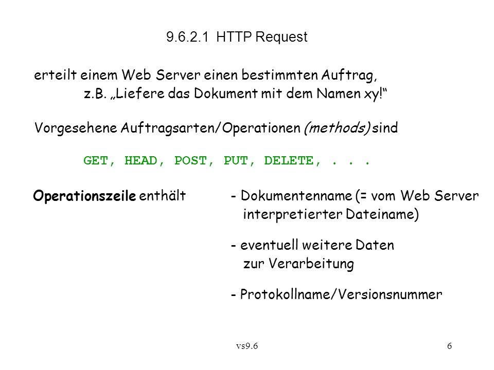 vs9.66 9.6.2.1 HTTP Request erteilt einem Web Server einen bestimmten Auftrag, z.B.