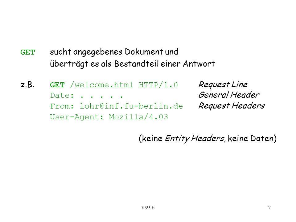 vs9.67 GET sucht angegebenes Dokument und überträgt es als Bestandteil einer Antwort z.B.
