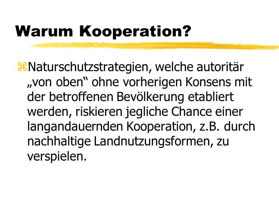 Warum Kooperation? z Naturschutzstrategien, welche autoritär von oben ohne vorherigen Konsens mit der betroffenen Bevölkerung etabliert werden, riskie