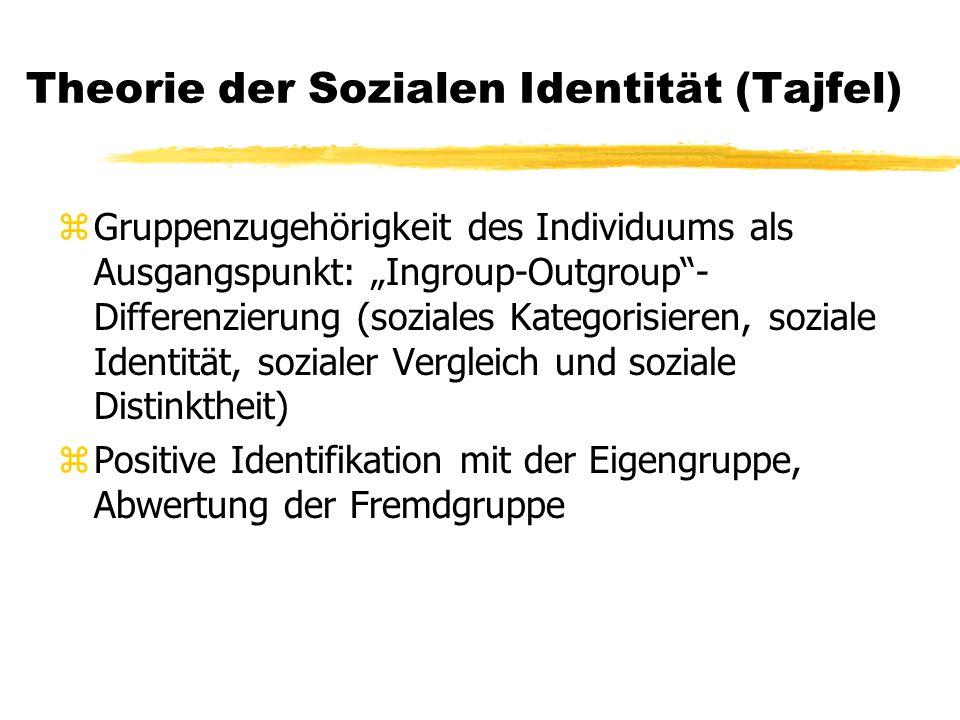 Theorie der Sozialen Identität (Tajfel) zGruppenzugehörigkeit des Individuums als Ausgangspunkt: Ingroup-Outgroup- Differenzierung (soziales Kategorisieren, soziale Identität, sozialer Vergleich und soziale Distinktheit) zPositive Identifikation mit der Eigengruppe, Abwertung der Fremdgruppe